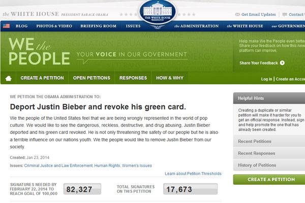 Petição para deportar Justin Bieber dos EUA tem mais de 17 mil assinaturas
