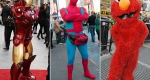 """O Spider-Man William Suarez, o """"Iron Man"""" Javier Hernandez, de 37 anos, e """"Elmo"""" José Maria, de 25 anos, foram todos presos e aguardam audiência na Corte"""