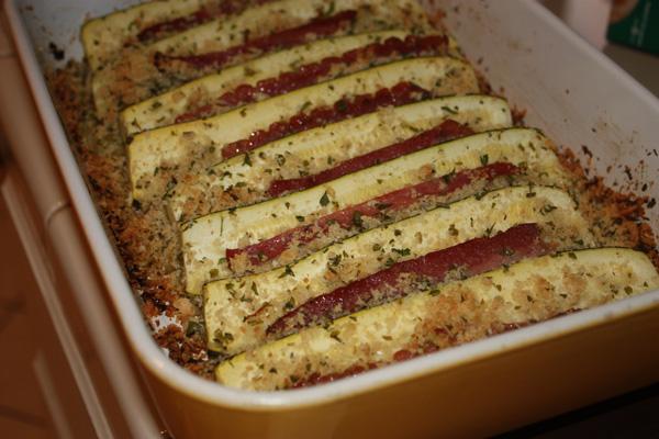 Zucchini assado com bacon