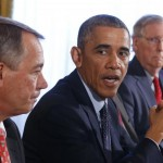Em 7 de novembro, o Presidente Barack Obama ofereceu um almoço bipartidário para líderes do Congresso na Casa Branca, em Washington-DC. Detalhe: John Boehner, Obama, Mitch McConnell e Chuck Schumer