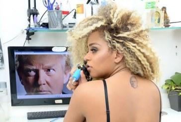 Brasileira tatua Trump nas costas e ganha destaque internacional