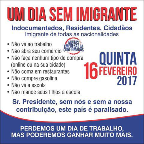 """Foto4 Protesto Um Dia Sem Imigrante Você vai trabalhar?  <br> EUA terá """"Quinta feira Sem Imigrantes"""""""