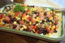 Salada de feijão com  milho verde e vinagrete apimentado