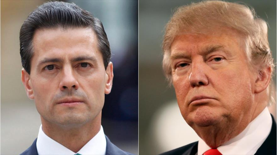 """Foto9 Enrique Pena Nieto e Donald Trump Trump tenta """"abafar"""" recusa do México em pagar pelo muro"""