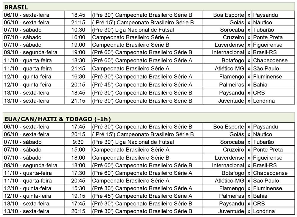 PFC Jogos Semana 6Out20172818 Jogos da série A e B do Brasileirão são destaques no PFC