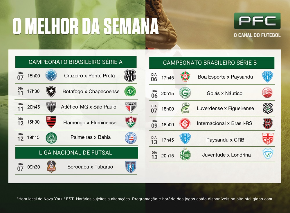 Tabela USA PRINT 22817 Jogos da série A e B do Brasileirão são destaques no PFC