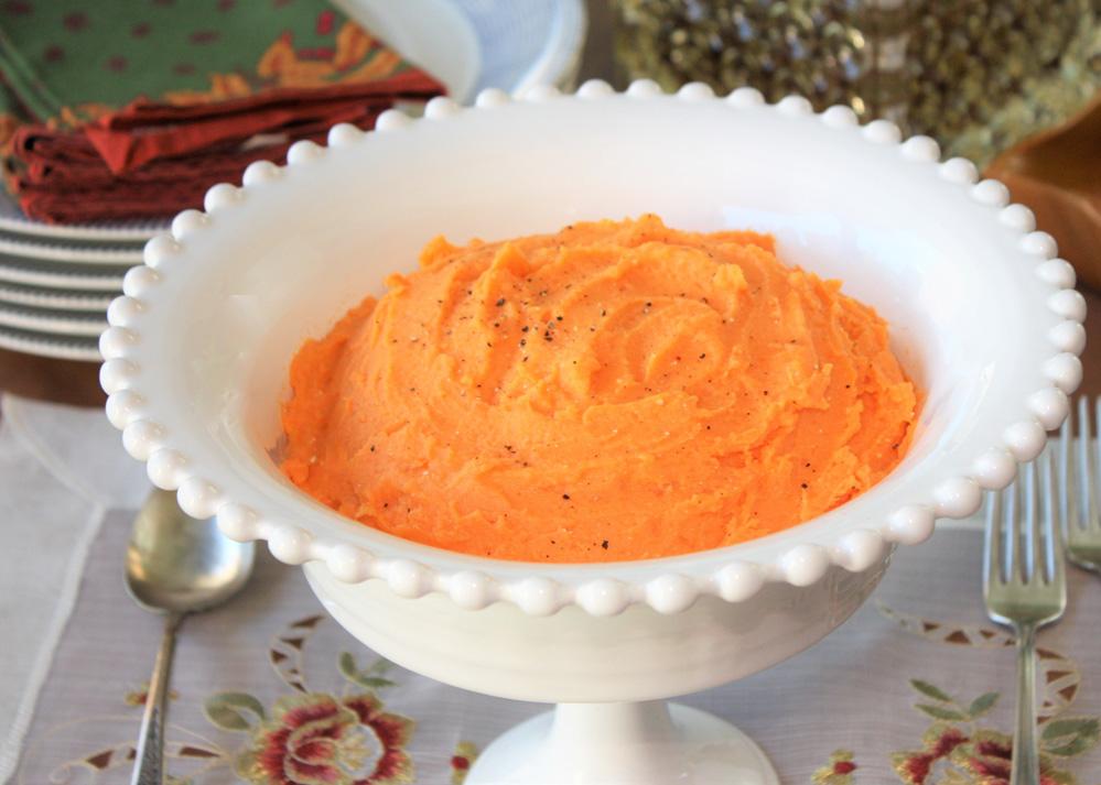 Purê de batata doce com cottage Purê de batata – doce com queijo cottage e iogurte