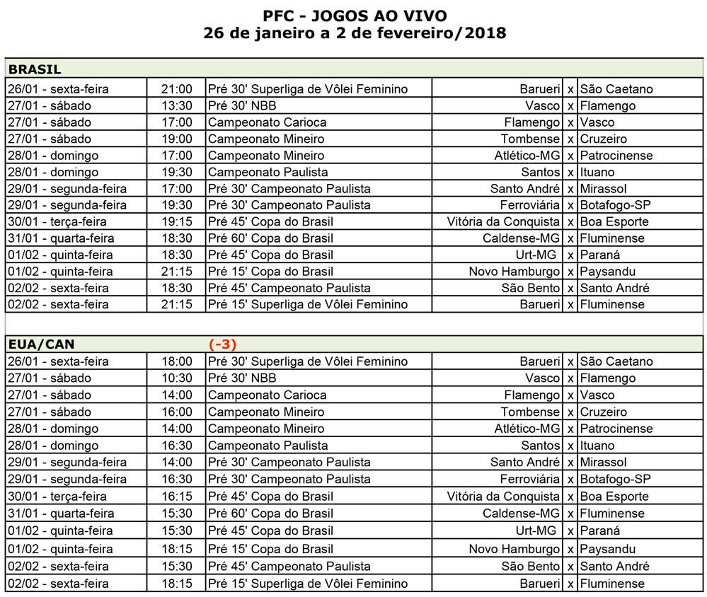 PFC Jogos Semana 26dejaneiro Clássico carioca agita programação do PFC