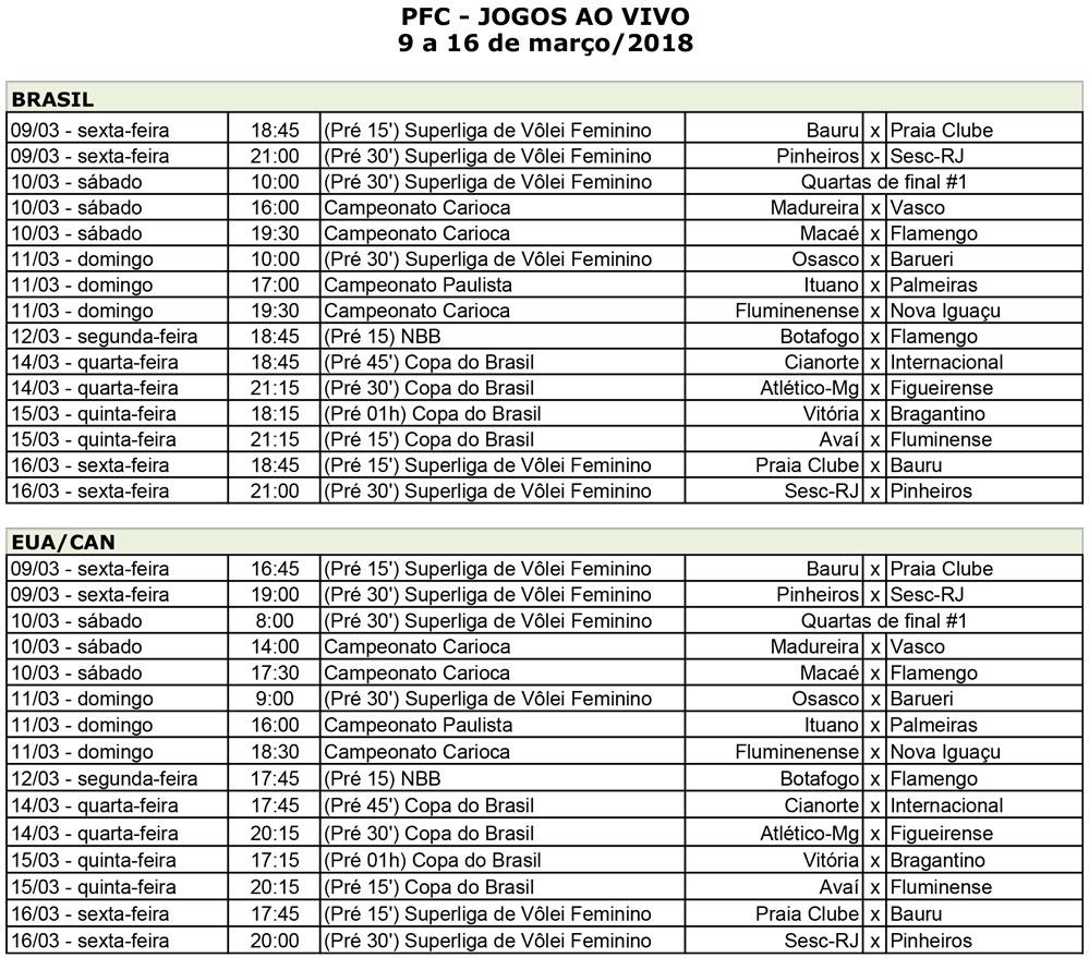 PFC Jogos Semana 9demarço Semana de definições da Copa do Brasil no PFC