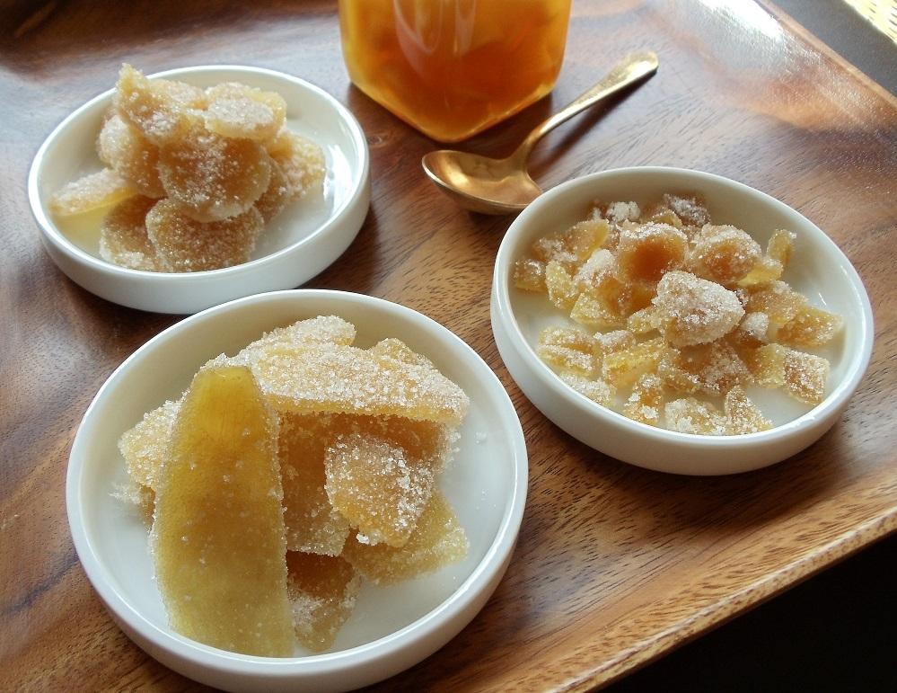 Gengibre em calda e cristalizado Gengibre em calda e cristalizado