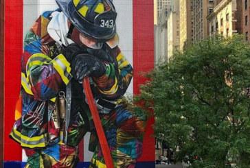 Brasileiro pinta mural em homenagem a bombeiros em NY