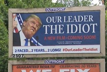 """Union-NJ: Outdoor polêmico chamando Trump de  """"idiota"""" em é removido"""