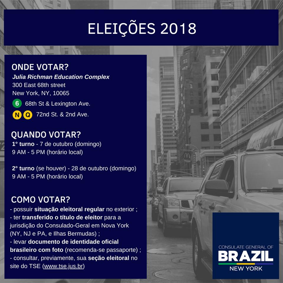 votacao Consulado divulga local de votação nas eleições presidenciais 2018