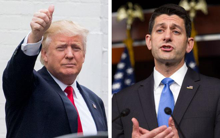 Foto3 Donald Trump e Paul Ryan Ryan: Trump não pode cancelar cidadania automática