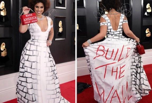 """Cantora filha de imigrante gera polêmica com vestido """"O muro"""" no Grammy"""