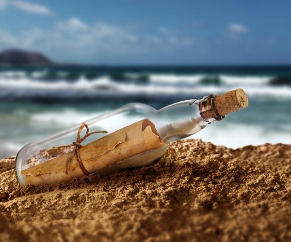 garrafa Mensagem na garrafa
